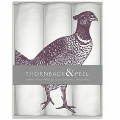 Thornback & Peel Set of 3 Purple Pheasant Handkerchiefs