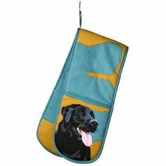 Black Labrador Double Oven Gloves