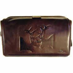 Tyler & Tyler Leather Wash Bag - Rutting Stags