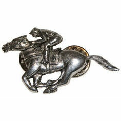 Pewter Lapel Pin in Presentation Box - Racehorse & Jockey