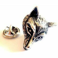 Pewter Fox Head Lapel Pin