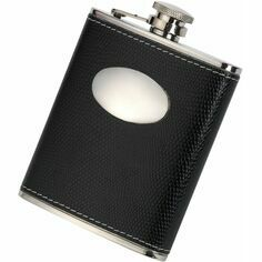 Black Croc Leather 6oz Hip Flask