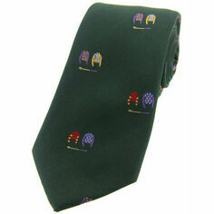Woven Silk Jockey Silks Tie - Green
