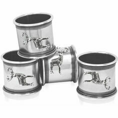 English Pewter Set of 4 Pewter Stag Napkin Rings