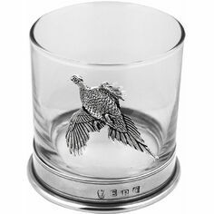 English Pewter Glass Pheasant Whisky Tumbler