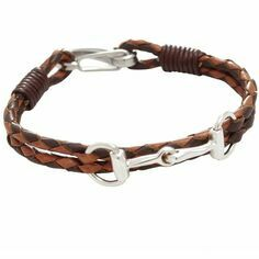 Sterling Silver Snaffle Bit Tan and Brown Leather Bracelet