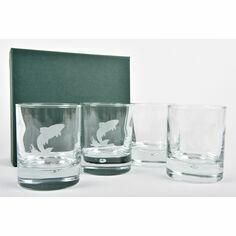 Set of 4 Leaping Fish Glass Tumblers