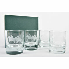 Set of 4 Matching Horse Racing Glass Tumblers
