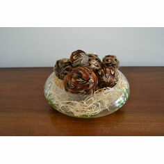 Box of 6 assorted pheasant feather decorative balls