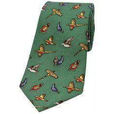 Country Birds Design Silk Tie - Green