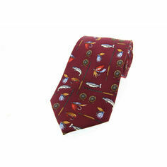 Burgundy/Wine Red Fishing Tackle Design Silk Tie