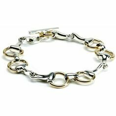 Hiho Silver Two Tone Brass and Sterling Silver Snaffle Bracelet