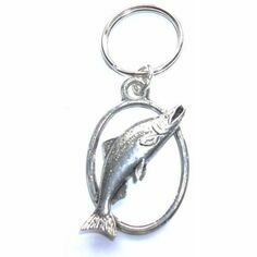 Pewter Leaping Salmon Keyring in Presentation Box