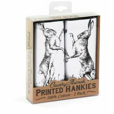 Pack of 2 Boxing Hares Handkerchiefs