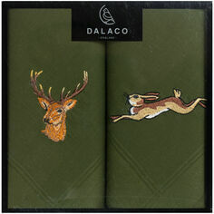 Pair of Embroidered Stag and Hare Handkerchiefs