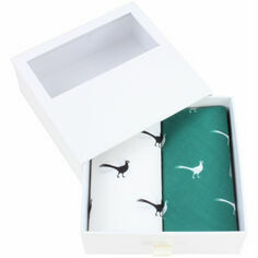 Pair of Green & White Pheasant Cotton Handkerchiefs