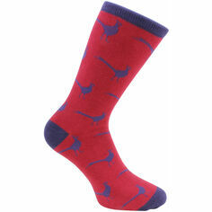 Red & Blue Pheasant Socks - Combed Cotton