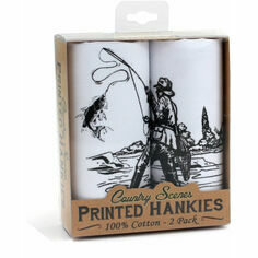 Country Scenes Fishing Cotton Handkerchiefs - Pack of Two