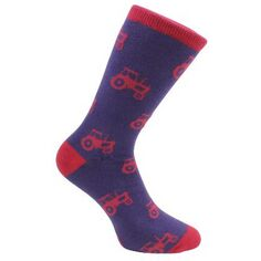 Red & Blue Tractor Socks - Combed Cotton