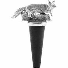 English Pewter Running Fox Bottle Stopper