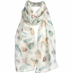 Fox & Chave Ivory Feather Print Chiffon Scarf