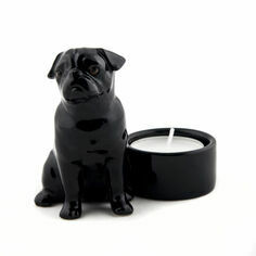 Quail Ceramics Black Pug Tealight Holder