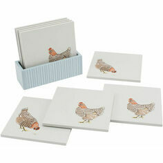 Holly House Set of 4 Chicken Wooden Coasters