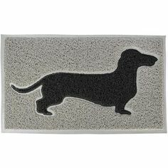 Black Dachshund on Grey PVC Loop Doormat