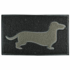 Grey Dachshund on Black PVC Loop Doormat