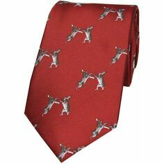 Soprano Red Boxing Hares Country Woven Silk Tie