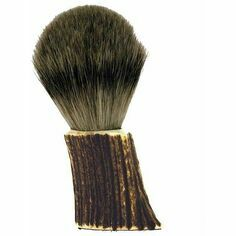 English Pewter Stag Horn Shaving Brush