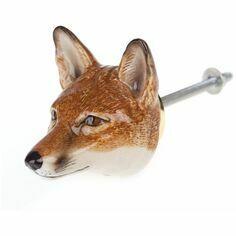 Porcelain Fox Head Door Knob
