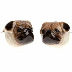 Sterling Silver Porcelain Pug Stud Earrings