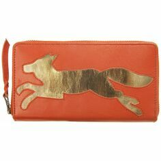 Fox Leather Cut Out Purse - Burnt Orange