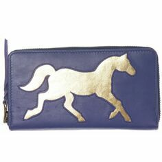 Horse Leather Cut Out Purse - Electric Blue