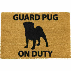 Coir Pug Silhouette Doormat -Guard Pug on Duty