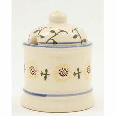 Brixton Pottery Sunflower Blue Rim Jam Pot