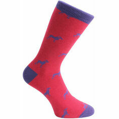 Pair of Red & Blue Dog Socks - Combed Cotton