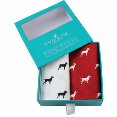 Pair of Red & White Cotton Labrador Handkerchiefs