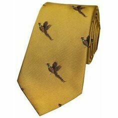 Flying Pheasants on Golden Ground Woven Country Silk Tie