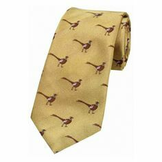 Standing Pheasant on Gold Ground Woven Country Silk Tie