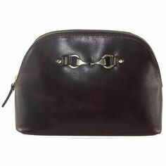 Emma Make Up Bag In Natural Leather Brown
