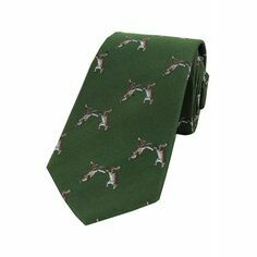 Soprano Green Boxing Hares Woven Silk Tie
