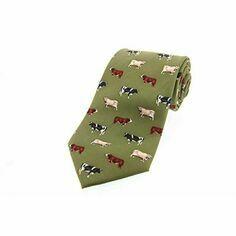 Tie Studio Green Cow Breeds Silk Tie