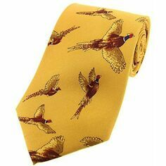 Gold Flying Pheasant Silk Tie