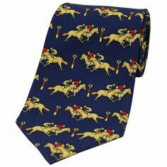 Blue Horse Racing Silk Tie