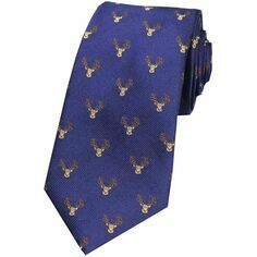Navy Blue Stags Head Woven Silk Tie