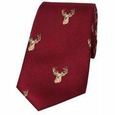 Soprano Wine Stag Head Woven Silk Tie