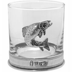 English Pewter Glass Trout Tumbler Glass