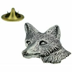 Fox Head English Pewter Lapel Pin Badge in Presentation Box